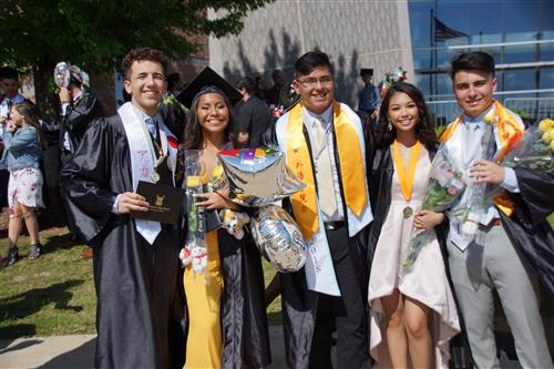 A group of Streamwood High School students on their graduation day in 2018 at the Sears Centre.