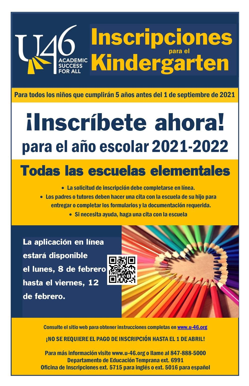 Kindergarten Registration 2021-2022 Poster SPA