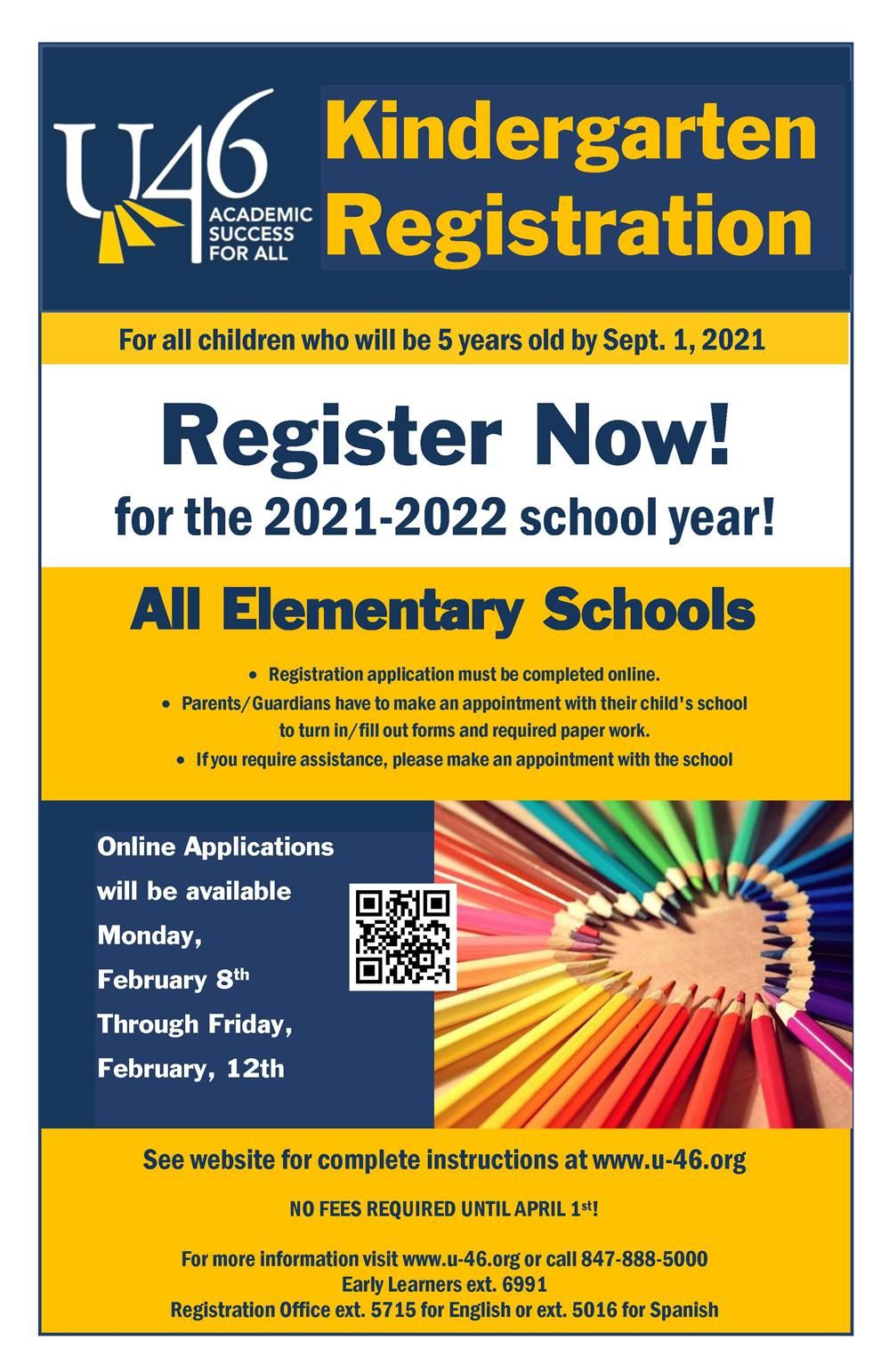 Kindergarten Registration 2021-2022 Poster ENG