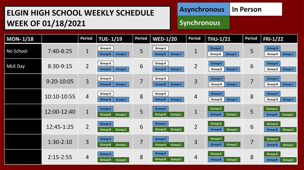 Schedule Week of January 18