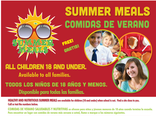 Summer Meals, All Children 18 and under eat free