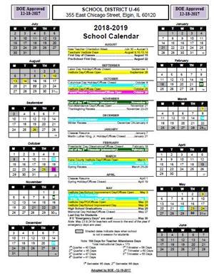 U 46 Board of Education Approves 2018 19 School Calendar