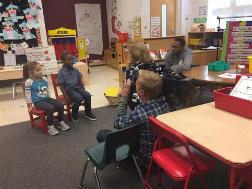 A documentary film crew interviews students at Lincoln Elementary School in Hoffman Estates.