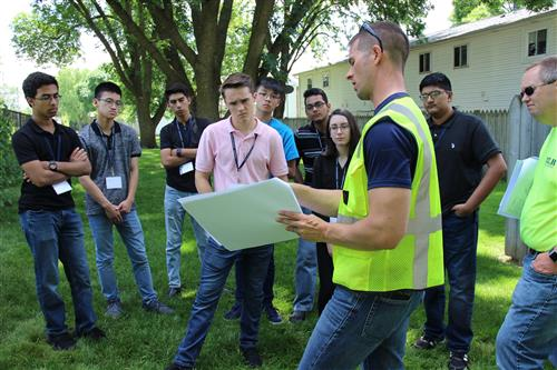 HLR Engineer shows Bartlett High School students designs