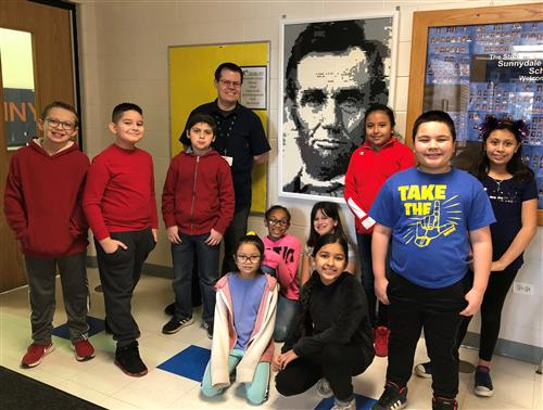 Sunnydale Students by Lincoln Portrait Made of Legos