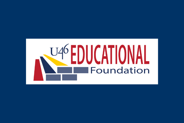 U-46 Educational Foundation Logo on Blue Background